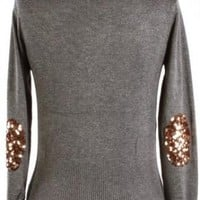 Gray Sequin Elbow Patch Cardigan
