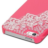 Fosmon GEM-LACE Series 3D Bling Lace Design Case for Apple iPhone 5 / 5S (Hot Pink)