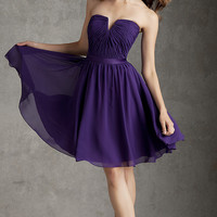 Short Strapless Purple Dress by Mori Lee