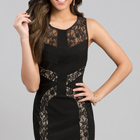Short Sleeveless Lace Embellished Dress