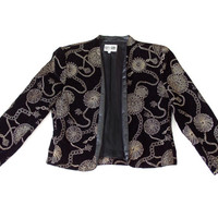 Vintage 1980s Glam Black Velvet and Gold Evening Jacket - Women's Metallic Gold Print Collarless Jacket - Size 8