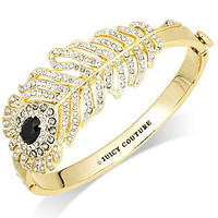 Juicy Couture Bracelet, Gold-Tone Crystal Pave Feather Hinge Bangle Bracelet