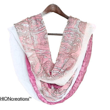 Paisley boho scarf loop scarf Infinity scarf PINK and WHITE indie paisley scarf great gift for her fashion accessories
