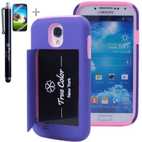 Rugged High Impact Credit Card Holder Wallet Soft + Hard Hybrid Combo Case Cover for Samsung Galaxy S4 SIV + Stylus + Screen Protector - Purple & Pink