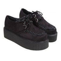 Black Oasapfashion Suede Creepers Flats 73% off retail