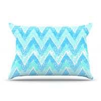 "Marianna Tankelevich ""Mint Snow Chevron"" Blue Chevron Pillow Case"