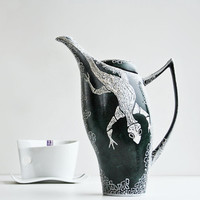 Hand Painted Teapot Dark Green White Salamander Lizard