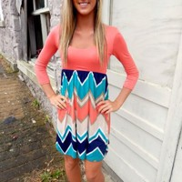 Coral Chevron Print Dress