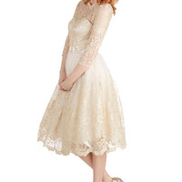 Chi Chi London Vintage Inspired Long 3 A-line Gilded Grace Dress in Champagne