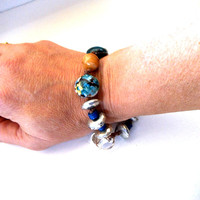 Bohemian Earthy Beaded Bracelet in Silver, Blues & Browns, Ceramic Bead Jewelry, Nature Inspired Jewelry, Large Size Bracelet 8.5 Inches