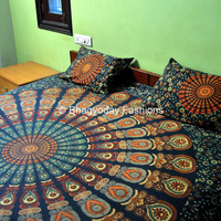 Hippie Mandala Indian Tapestry, Mandala Bed cover hippy wall hanging Bohemian Block Printed Bed Sheet BedSpread Wall Hanging Throw Art