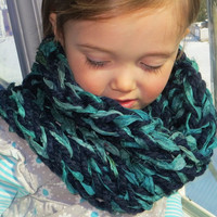 One Size Sari Ribbon Cowl Blue Aqua by The Wild Willows