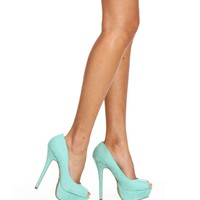 Mint Peep Toe Pumps