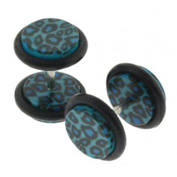 Hand wrapped Acrylic Faux plugs with Leopard design - 16g ear wire - 8mm Fakepost - Sold as a pair
