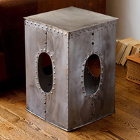 Steel Square Rivet Natural-colored Stool (India)