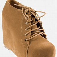 One O One WEDGE01-10-3 Suede Wedge Booties Women Wedges TAN Bare Feet Shoes
