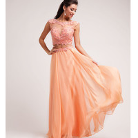 (PRE-ORDER) 2014 Prom Dresses - Peach Lace & Chiffon Cut Out Gown