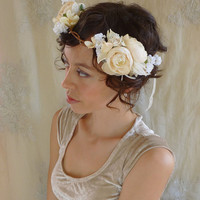 Opal Flower Crown...Free Size...whimsical wedding bridal flower girl bridesmaid tea party boho vintage free people fairy ivory white circlet