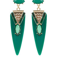 Green Rounded Spike Drop Earrings