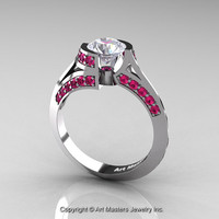 Modern French 14K White Gold 1.0 Ct White Sapphire Pink Sapphire Engagement Ring Wedding Ring R376-14KWGPSWS