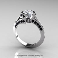 Modern French 14K White Gold 1.0 Ct White Sapphire Black Diamond Engagement Ring Wedding Ring R376-14KWGBDWS