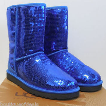 UGG Australia ~ Women's Classic Short Sparkles Boots Blue 3161 New & Authentic