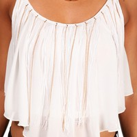 White Chain Fringe Sleeveless Top
