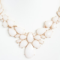 White Anastasia Bib Necklace Set