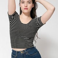 Stripe Cotton Spandex Jersey Crop Tee
