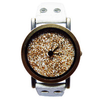Gold Glitter Watch, Women's White Faux Leather Watch, Custom Watch
