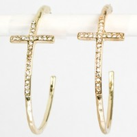Gold Swarovski Crystals Cross Hoop Earrings from P.S. I Love You More Boutique