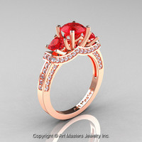 Exclusive French 18K Rose Gold Three Stone Rubies Diamond Engagement Ring Wedding Ring R182-18KRGDR