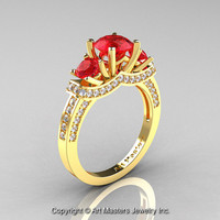 Exclusive French 18K Yellow Gold Three Stone Rubies Diamond Engagement Ring Wedding Ring R182-18KYGDR