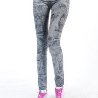 Jean style leggings, women leggings, tights, legwear, washing leggings