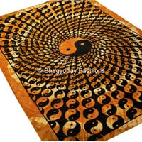 Indian Yin Yang Hippie Hippy Indian Tapestry Wall Hanging Throw Cotton Bed cover Bohemian Bed Decor Bed Spread Ethnic Decorative Art