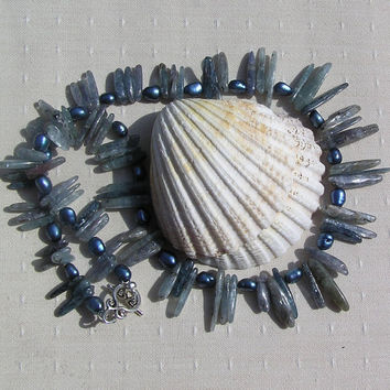 "Crystal Gemstone Statement Necklace - Kyanite & Blue Freshwater Pearls ""Blue Venus"""