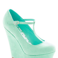 Take It from the Taupe Wedge in Spearmint | Mod Retro Vintage Heels | ModCloth.com