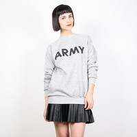 Vintage Heather Gray Sweatshirt Army Sweatshirt Pullover Sweater Top Jumper Novelty Print Graphic Print Military T Shirt Gray Black L Large