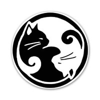 Ying Yang Cats Cat Lovers at Peace Car Sticker Decal 4""
