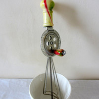 Vintage French Hand Whisk, Egg Beater, Kitchenalia 1950's