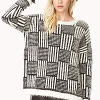 Geo Striped Eyelash Knit Sweater