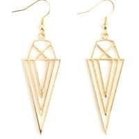 METALLIC TRIANGLE DANGLE EARRING
