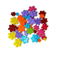 Two Hole Colorful Flower Buttons, Plastic, 44 Pcs