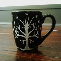 Lord of the Rings - Tree of Gondor (with quote) - Hand-painted coffee or tea mug