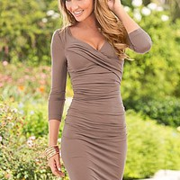 Light Brown (GNSN) Ruched Dress