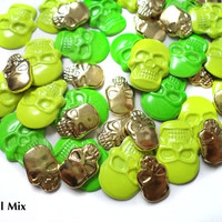 DIY 120 PCS Mix Gothic Skull Flat Back Cabochons Hot fix Iron On Glue On Crafts