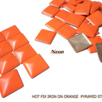 DIY Studs - 120 PCS 7 mm Orange Neon Square Pyramid Studs Hot fix Iron On Glue On