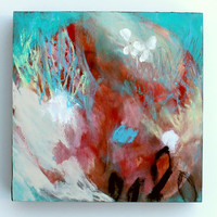 "Small Abstract Painting Mixed Media on Wood Acrylic 6x6 ""No Hurry"""