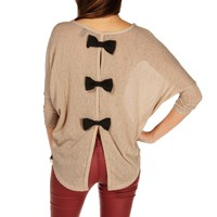 TaupeBlack Bow Back Dolman Top
