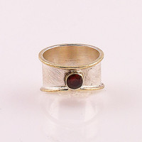 Garnet Two Tone Sterling Silver Ring | KejaJewelry - Jewelry on ArtFire